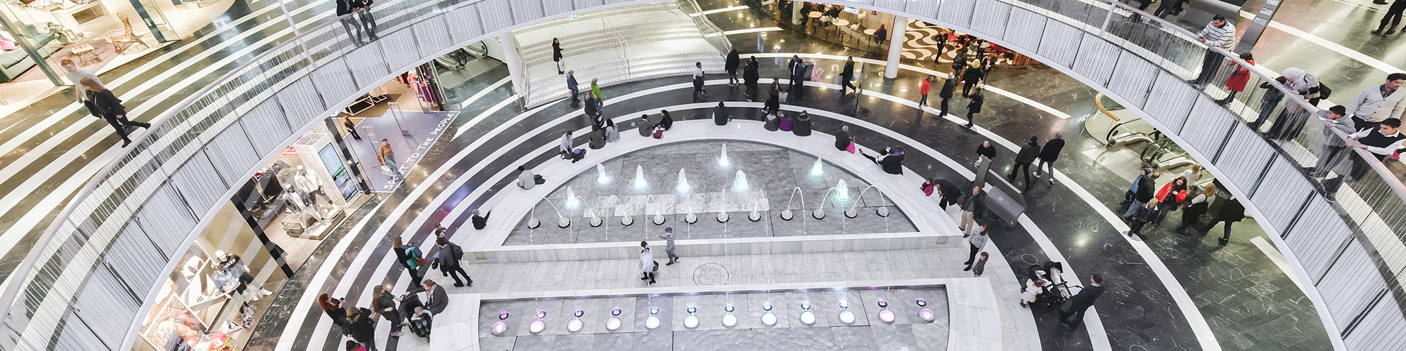 SOLNA, SWEDEN - MARCH 4, 2016: Circular interior at the Mall of Scandinavia in Solna. 2015 was the mall opened.